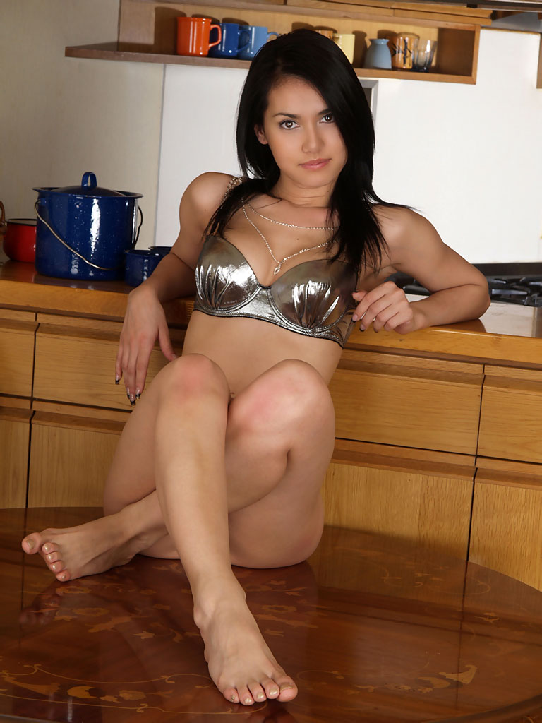 Maria stripping off her shiny bikini on kitchen counter for Naked in kitchen pics